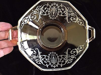 Sterling Silver Overlay Amber Pink Bowl Art Nouveau Handles 1910  6""