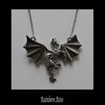 Pewter Necklace on Chain #430 Dragon in flight 50mm silver tone