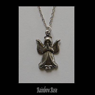 Chain Necklace #200 Pewter LITTLE ANGEL (25mm x 15mm) Silver Tone