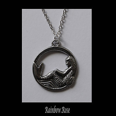 Chain Necklace #168 Pewter MERMAID in CIRCLE (22mm) SILVER TONE
