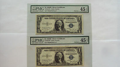 1935-D -Lot of 2 Sequential s/n $1 Silver Certificate - PMG EF45 - Double holder