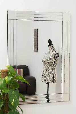 Large Wall Mirror Modern Silver Bevelled Edge Venetian 2Ft4 X 3Ft4 70cm X 100cm