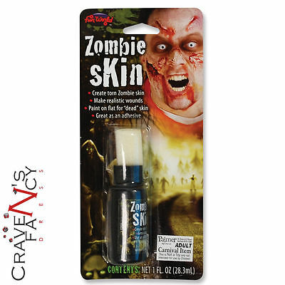 Zombie fake skin liquid latex flesh wound halloween horror - Zombie scars with glue ...