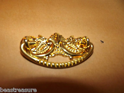 """rEPRODUCTION  Stamped Brass Drawer Pull 2-3/4"""" wide x  1-1/4"""" tall , 2"""" boring"""