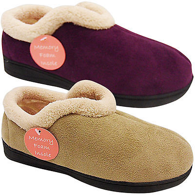 Womens Ladies Low Wedge Non Slip Soft Wide Memory Foam Slippers Shoes Size House