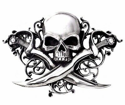 Letter Of Marque Pirate Skull & Swords Pewter Belt Buckle Alchemy Gothic B75