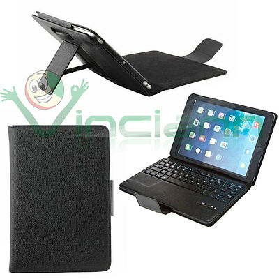 Custodia eco pelle Nera stand+tastiera removibile bluetooth per Apple iPad 5 Air