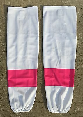 SP Edge Style Pro Stock Hockey Socks White with Pink Stripes NEW and USED
