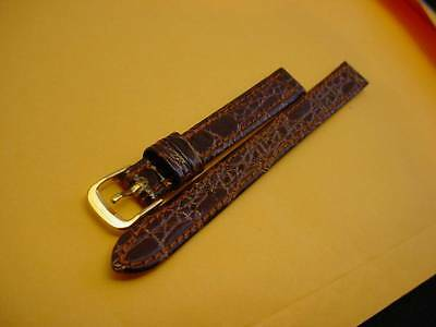 Ladies Speidel NOS 10mm R241230BR Brown Crocodile Grain Leather Watch Band W2513