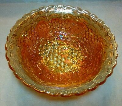 Marigold Iridescent Imperial Grape and Cable Carnival Glass Scalloped Bowl 7.5""
