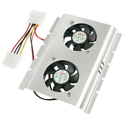 "Black Silver Tone Alloy Cooler Fan for Desktop HDD 3.5"" Hard Disk"