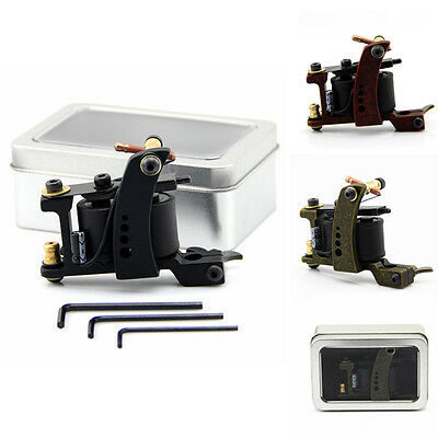 10 Wrap Copper Coils Alloy Tattoo Machine Gun Liner Shader With Iron Box