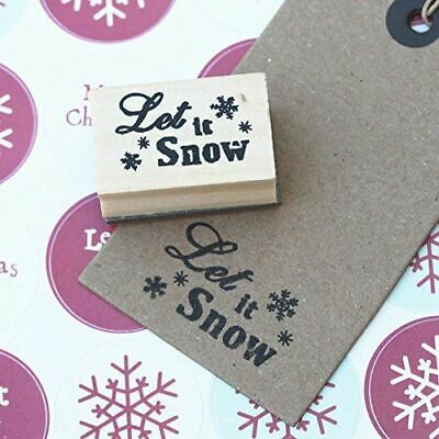 Let It Snow Small Snowflake Design Wooden Rubber Christmas Stamp