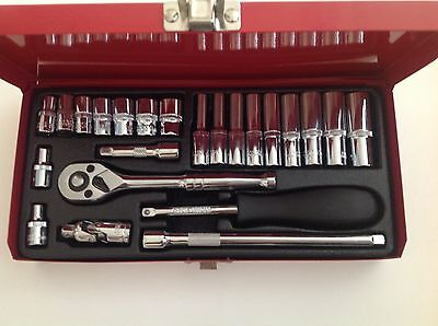 "24Pc 1/4"" Inch Drive Standard & Deep Socket Ratchet Garage Workshop Tool Set"