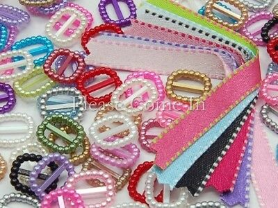 200 Buckles Ribbon Sliders Scrapbooking & Stitch Satin Ribbons