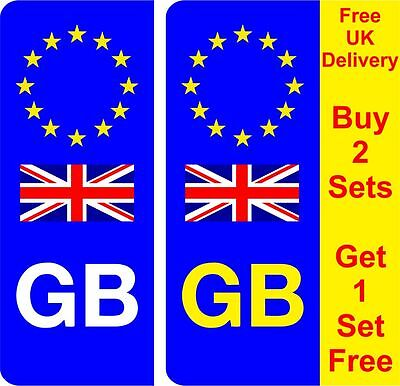 Pair GB Euro Number Plate Stickers EU European road legal car decal vinyl AA143a