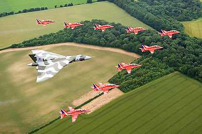 Vulcan Bomber With Red Arrows WALL ART CANVAS FRAMED OR POSTER PRINT