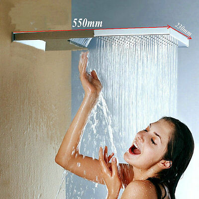"NEW Large 22"" Square Luxury Waterfall Rain Shower Head Wall Mounted Shower"