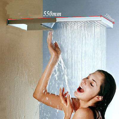"NEW Luxury Large 22"" Square Waterfall Rain Shower Head Wall Mounted Shower"
