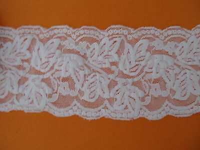 "White Stretch Floral Scallop Edge 3 1/2"" Elastic Embroidered Net Lace Trim"