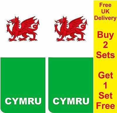 Pair Welsh Wales Number Plate Stickers road legal car decal vinyl AA143c