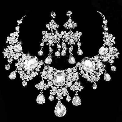 Wedding Choker Necklace Earring Set Statement Crystal Bridal Prom Jewelry Set