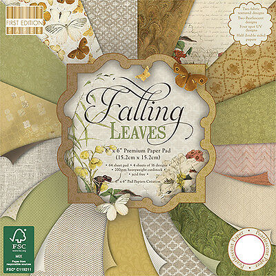 64 SHEET FULL PACK 6 x 6 FIRST EDITION FALLING LEAVES CARD MAKING BACKING PAPER