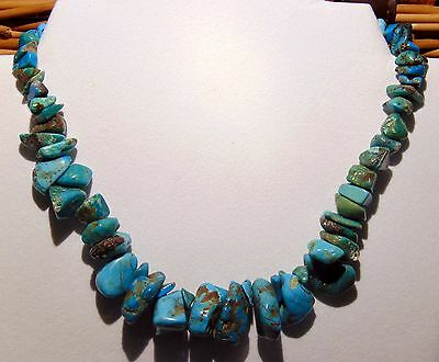 """Native American Navajo Natural Turquoise Necklace """"15"""