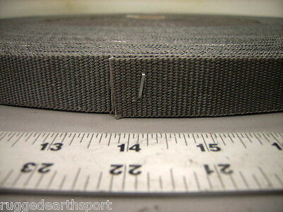 "Gray Grey Military 1"" Inch Wide Nylon Webbing Strap 3500lb Mil-Spec - 50 yd Roll"
