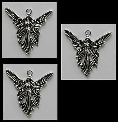 METAL CHARM #813 x 3 FAIRY silver tone 38mm for suncatcher, necklace, keyring