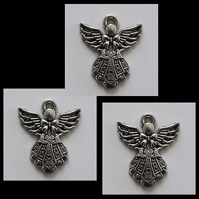CHARM #816 ANGEL x 3 silver tone 28mm for suncatcher, necklace fairy