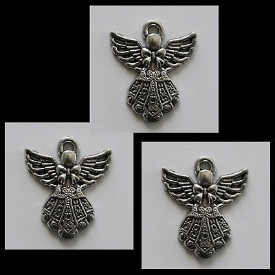 METAL CHARM #816 x 3 ANGEL silver tone 28mm for suncatcher, necklace fairy
