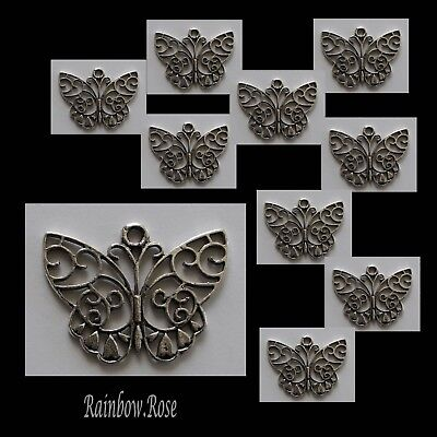 CHARM #846 BUTTERFLY x 10 silver tone filigree 37mm - suncatcher, necklace