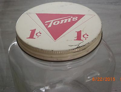 Vintage Tom's 1 Cent Candy Jar with Screw On Tin Top