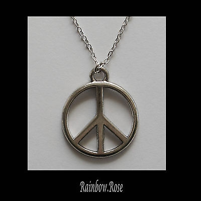 Necklace on chain #811 PEACE SYMBOL 25mm - Silver Tone