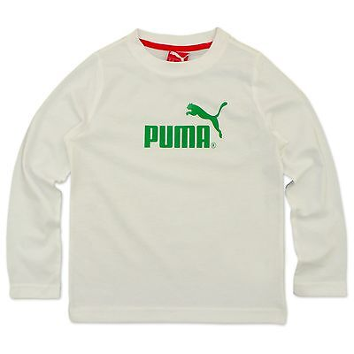 19366712 Puma Originals Large Logo No.1 Tee Children's Long Sleeve Shirt White  Leisure &