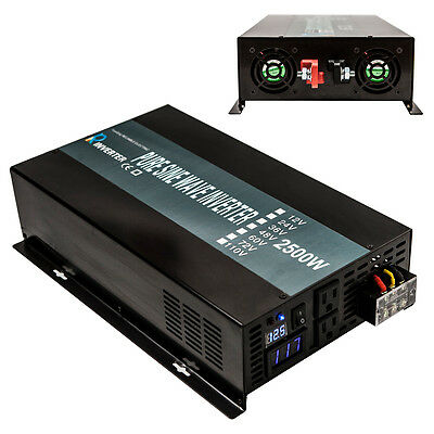 2500W DC to AC Power Inverter 12V to 120V Pure Sine Wave Home Solar Systems