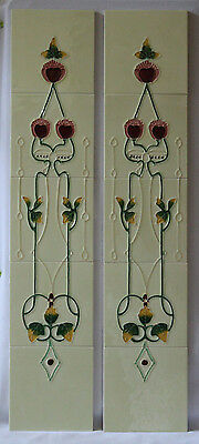 Tube Lined Art Nouveau Style Pink Garland Fireplace Tiles
