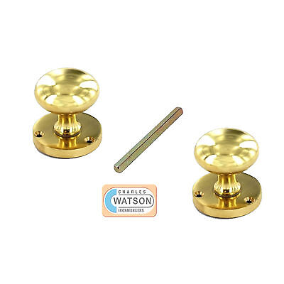 60mm Polished BRASS Victorian Furniture Round Mortice Door Knob Ball Style