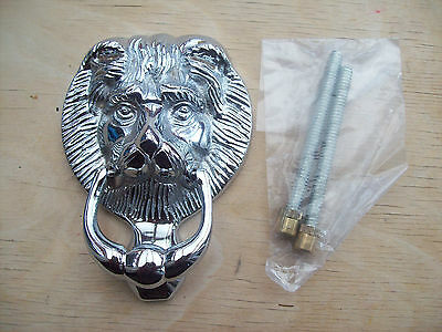 10.2cm/100MM SOLID BRASS CHROME FINISH LIONS LION HEAD DOOR KNOCKER TRADITIONAL