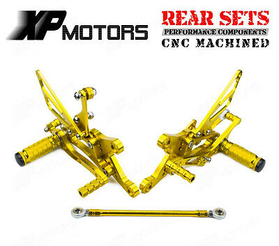 CNC Rearset Footrests Adjustable Rear Sets For Yamaha YZF-R1 1998 1999-2003 Gold