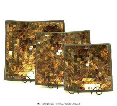 Hand Made Black Gold / Brown Square Glass Mosaic Terracotta Bowl Fruit Nut Key