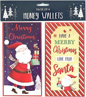 Pack of 4 Christmas Money Wallet Gift Cards & Envelopes - Mixed Cute Designs
