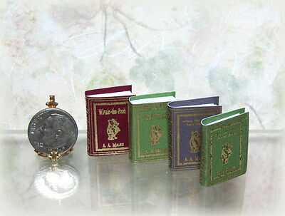 Dollhouse Miniature Set of 4 Winnie the Pooh Books with Blank Pages