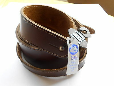 Uk Made Brown Deluxe X/long Full Grain Leather Acoustic Or Electric Guitar Strap