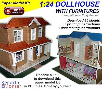 Paper Model Kit 3D in PDF to Download - 1:24 Scale Dollhouse with Furnitures