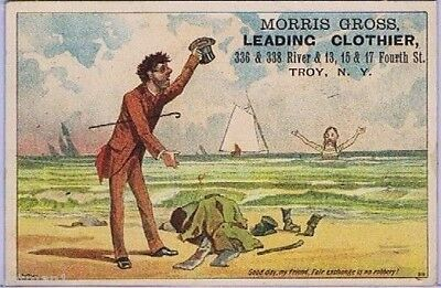 Morris Gross Leading Clothier, Troy, N.Y.,1st offered 1880s Victorian Trade Card