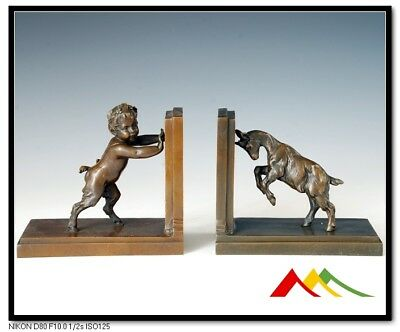 Signed Pair bronze sculpture child & goat bookends