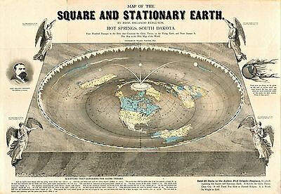 1893 MAP OF SQUARE AND STATIONARY EARTH flat Orlando Ferguson BIBICAL Ptolemaic