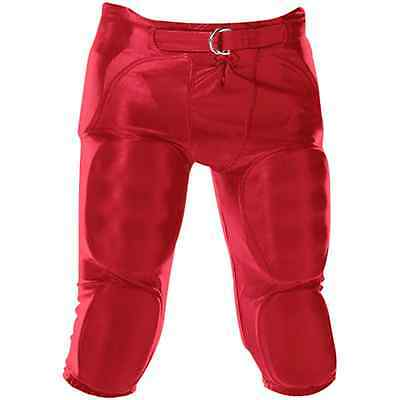 Alleson Youth Football Pants 688DY 7 Integrated Pads & Belt Scarlet Red _312-52